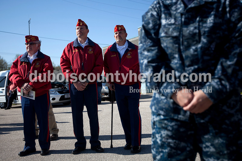 Members of the Southern Indiana Leatherneck Detachment of the local Marine Corps League, including Kenny Gwin, left, Dave Englert and Pat Moriarty were in attendance Monday morning at Crane Division, Naval Support Activity for the dedication ceremony in honor of fallen Marine Cpl. Eric Lueken. Dave Weatherwax/The Herald