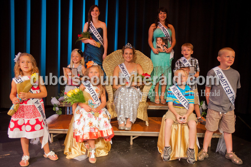Rachel Mummey/The Herald<br /> The winners of the Heimatfest Pageant are from left, Lil Miss runner-up Hattie Dilger of Ferdinand, 6, Lil Miss Photogenic Riley Hinson of Ferdinand, 5, Heimatfest Queen runner-up Brooke Mullen of St. Anthony, 18, Lil Miss Heimatfest Avari Schneider of Ferdinand, 7, Heimatfest Queen Shanna Hoffman of Ferdinand, 18, Miss Photogenic Araceli Garcia of Ferdinand, 18, Lil Mister Elijah Brosmer of Ferdinand 6,  Lil Mister Photogenic Cody Brames of Huntingburg, 7, and Lil Mister runner-up Carter Giesler of Ferdinand, 7.
