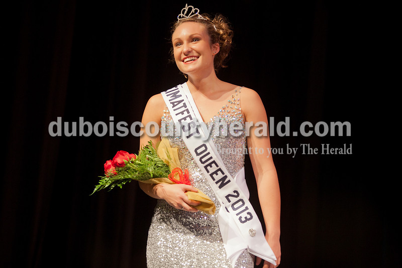 Shanna Hoffman of Ferdinand, 18, smiled at the crowd after being named the 2013 Heimatfest Queen during the pageant in the auditorium at Forest Park High School on Sunday in Ferdinand. Rachel Mummey/The Herald