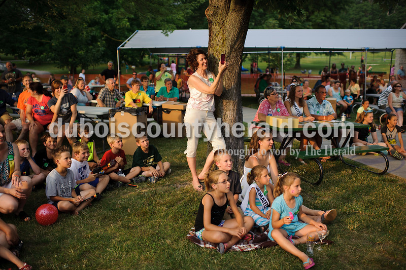 A crowd sat and watched as those lip-syncing took the main stage during Heimatfest in Ferdinand on Friday. Matthew Busch/The Herald