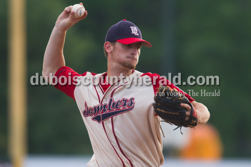 Dubois County Bombers' Conner Strain pitched during Tuesday night's game against the Hoptown Hoppers at League Stadium in Huntingburg. The Bombers lost 4-3. Rachel Mummey/The Herald