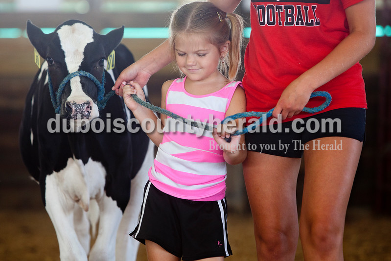 Pre 4-H'er Lyndsey Taylor of St. Henry, 6, received help from Sabrina Ferguson of Huntingburg, 18, in learning how to walk a cow in the show ring at the Dubois County 4-H  Fairgrounds on Saturday morning. Dave Weatherwax/The Herald