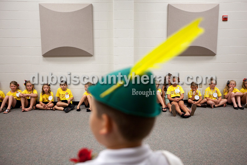 Little Miss and Mister Strassenfest contestants listened to the 2012 Little Mister Strassenfest Mason Schoenbachler of Jasper, 8, share what his experience was like winning last year's contest before the start of this year's contest at Jasper Middle School on Saturday afternoon. Dave Weatherwax/The Herald