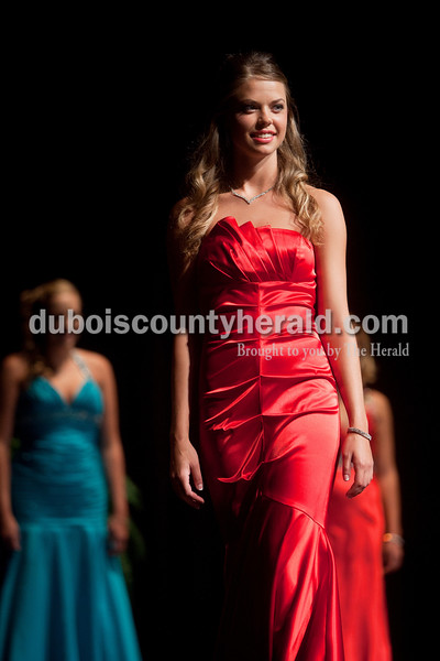 Miss Strassenfest contestant Shelby Mullen of Jasper, 19, walked onto the stage in her formal wear during the interview  portion of the pageant at Jasper Middle School on Saturday. Dave Weatherwax/The Herald