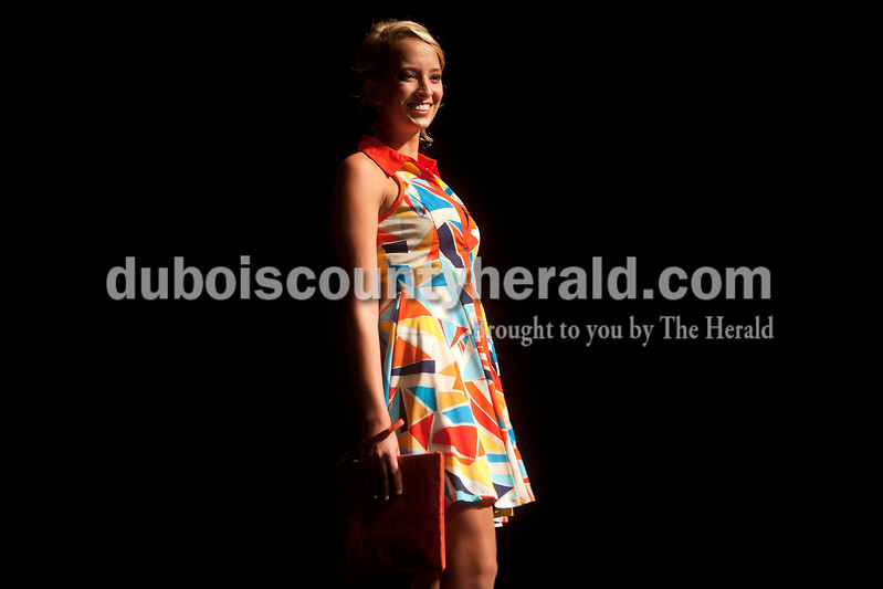 Miss Strassenfest contestant Renee Hedinger of Jasper, 19, showed off her dress during the sportswear  portion of the pageant at Jasper Middle School on Saturday. Dave Weatherwax/The Herald