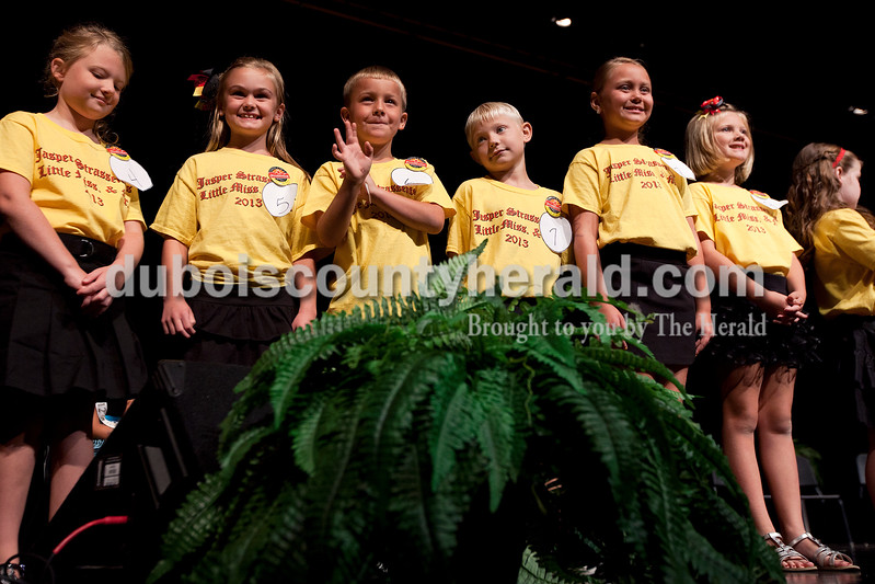 Little Miss and Mister Strassenfest contestants were presented onstage one last time before the announcement of the winners Saturday afternoon in the Jasper Middle School auditorium.