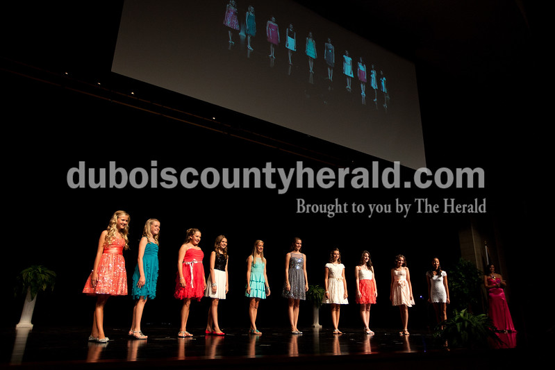 The Junior Miss Strassenfest contestants presented themselves one last time before the judges during the pageant at Jasper Middle School on Saturday. Dave Weatherwax/The Herald