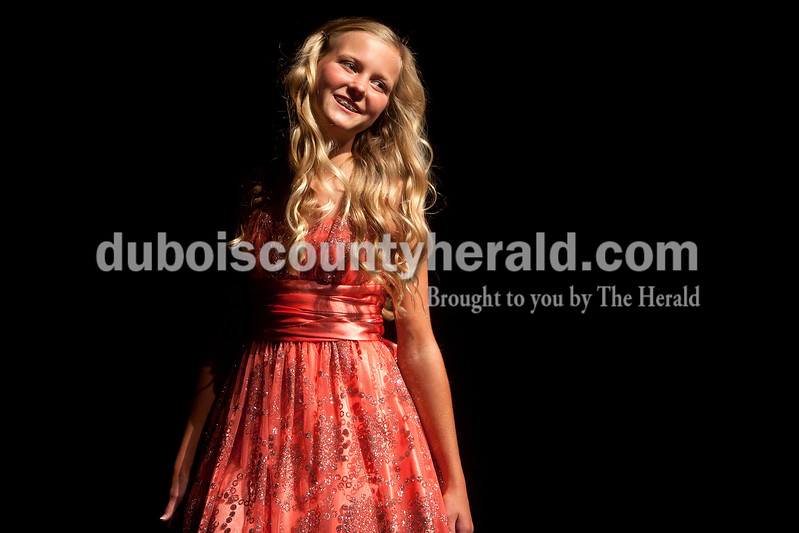 Junior Miss Strassenfest contestant Hannah Welp of Jasper, 13, presented herself before the judges during the pageant at Jasper Middle School on Saturday. Dave Weatherwax/The Herald
