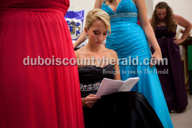 Miss Strassenfest contestant  Renee Hedinger of Jasper, 19, went over her interview questions one last time during the pageant at Jasper Middle School on Saturday. Dave Weatherwax/The Herald