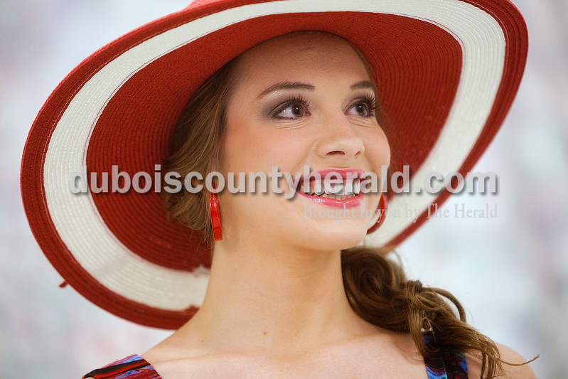 Miss Strassenfest contestant Mallory Humbert of Jasper, 19, posed for a photograph in her sportswear outfit during the pageant at Jasper Middle School on Saturday. Dave Weatherwax/The Herald