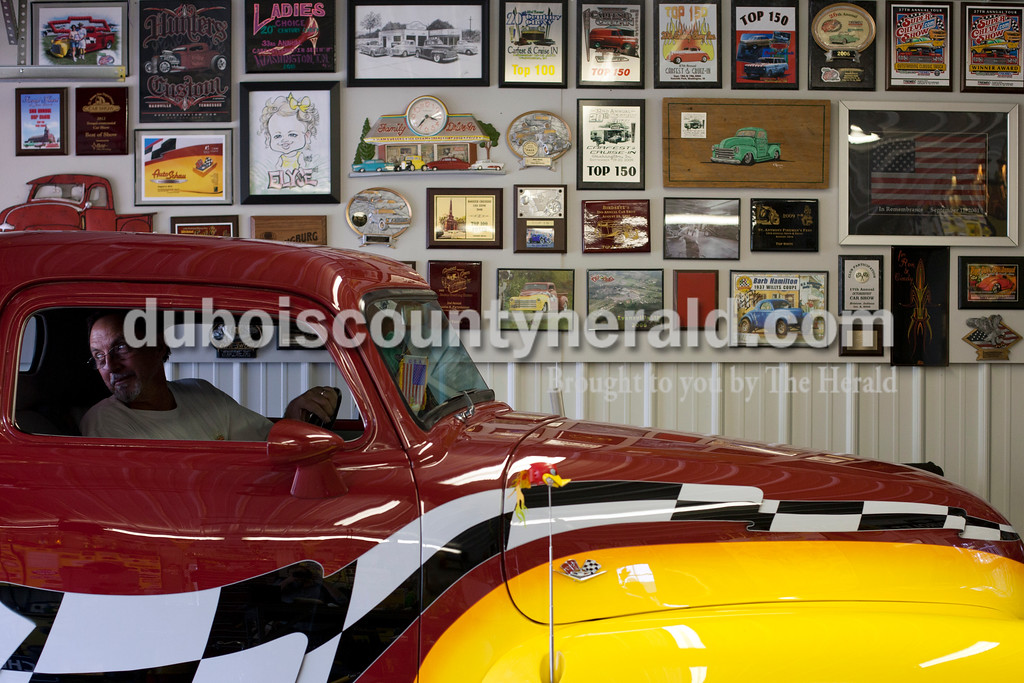 Ariana van den Akker/The Herald<br /> Ron Vogler of Ireland stands with his _____ Chevrolet truck in his garage on Friday.  Vogler will show this truck at the St. Anthony Fireman's fest.