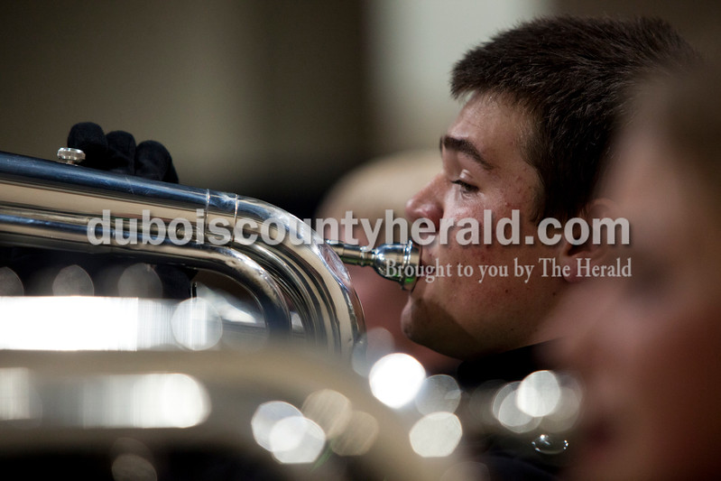 Forest Park junior Sage Taylor practiced with the band before the Indiana State School Music Association state marching band finals at Lucas Oil Stadium in Indianapolis on Saturday.  The Rangers were awarded first place in Class D for the second year in a row.  Ariana van den Akker/The Herald