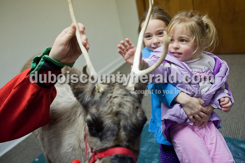Aubrey Hargett of Huntingburg, 2, right, got a boost from her sister Ayla, 7, so she could feel the antler of the reindeer named Clarice during a presentation by the Silly Safari's Indiana Reindeer Reserve based out of Indianapolis at the Huntingburg Public Library on Tuesday. Rachel Mummey/The Herald