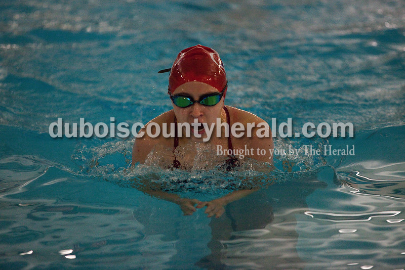 Heritage Hills' Brielle Forler swam in the individual girls 100 yard breast stroke during Monday night's swim meet against Southridge in Huntingburg. Rachel Mummey/The Herald