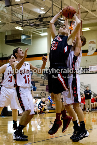 Southridge's Henry Steckler shot the ball during Saturday evening's fifth-place game against North Posey at the Graber Post Buildings Classic at North Daviess High School.  Southridge won 56-41.  Ariana van den Akker/The Herald