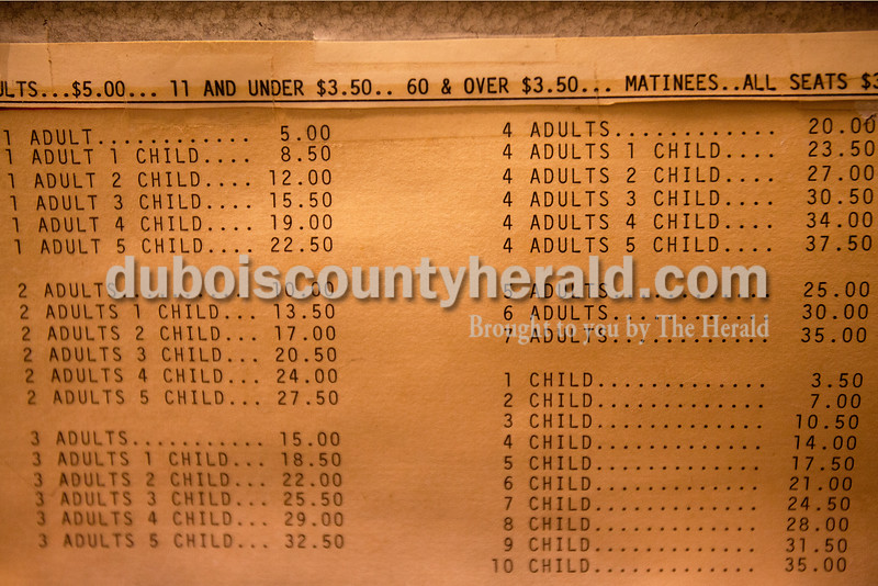 Rachel Mummey/The Herald<br /> The price listings remained printed on an antique coin machine at Astra Theatre in Jasper on Tuesday evening. The theater, built in 1937 by Joseph Gutzweiler and closed in 2002.