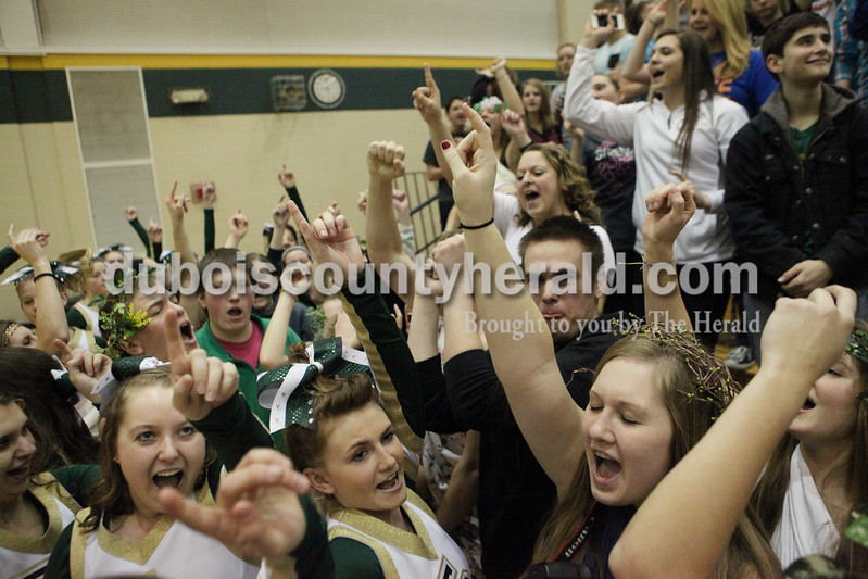 Heather Rousseau/The Herald<br /> Forest Park students cheered during a time out of Tuesday night's game in Ferdinand against Gibson Southern. The Rangers won 56-36.