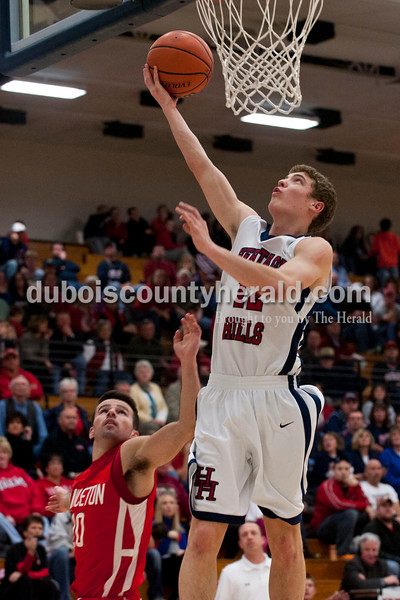 Carolyn Van Houten/The Herald<br /> Heritage Hills' Sam Scherry shot the ball during the game in Lincoln City on Tuesday.  Heritage Hills defeated Princeton 59-58 in their last home game of the season.