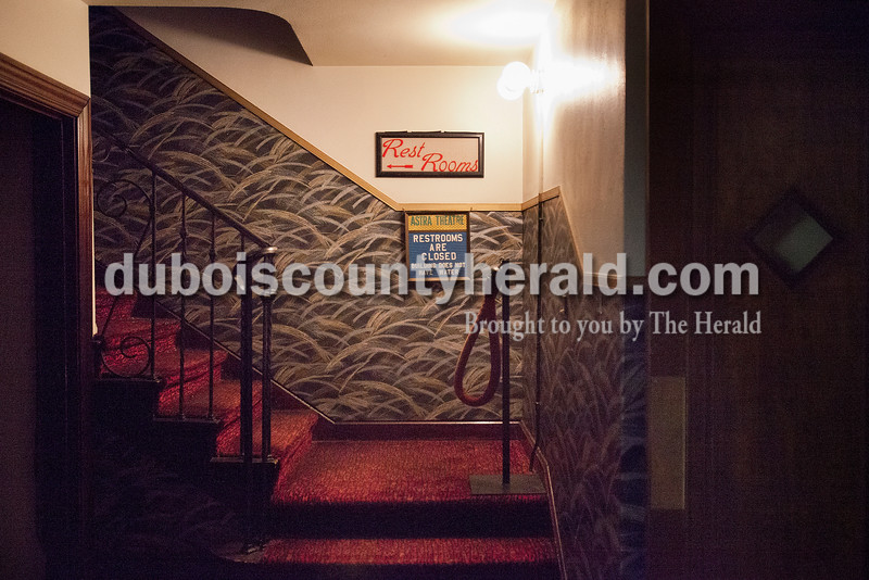 Rachel Mummey/The Herald<br /> The stairwell in the Astra Theatre remained empty in Jasper on Tuesday evening. The theater, built in 1937 by Joseph Gutzweiler and closed in 2002.
