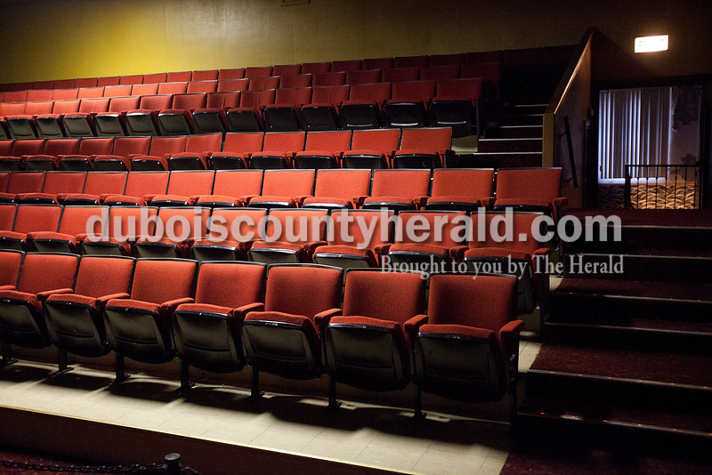 Rachel Mummey/The Herald<br /> The upstairs theater in the Astra Theatre sat empty in Jasper on Tuesday evening. The theater, built in 1937 by Joseph Gutzweiler and closed in 2002.