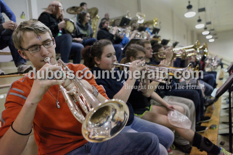 Heather Rousseau/The Herald<br /> Forest Park band members from front row left, senior Adam Woodall, junior Zulema Contreras, junior,Sydney Lange, and freshman Dillon Hasenour, played during Tuesday night's game against Gibson Southern in Ferdinand. The Rangers won 56-36.
