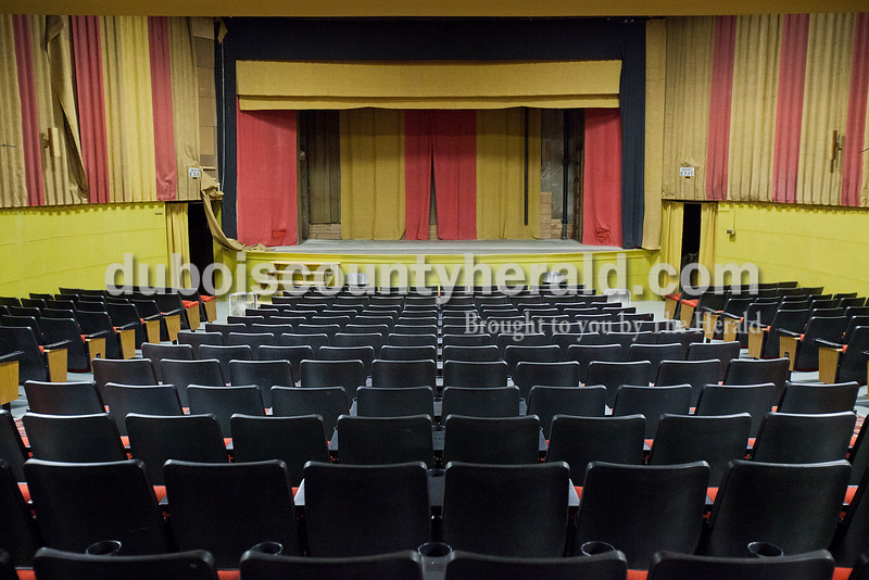 Rachel Mummey/The Herald<br /> The Astra Theatre sat empty in Jasper on Tuesday evening. The theater, built in 1937 by Joseph Gutzweiler and closed in 2002.