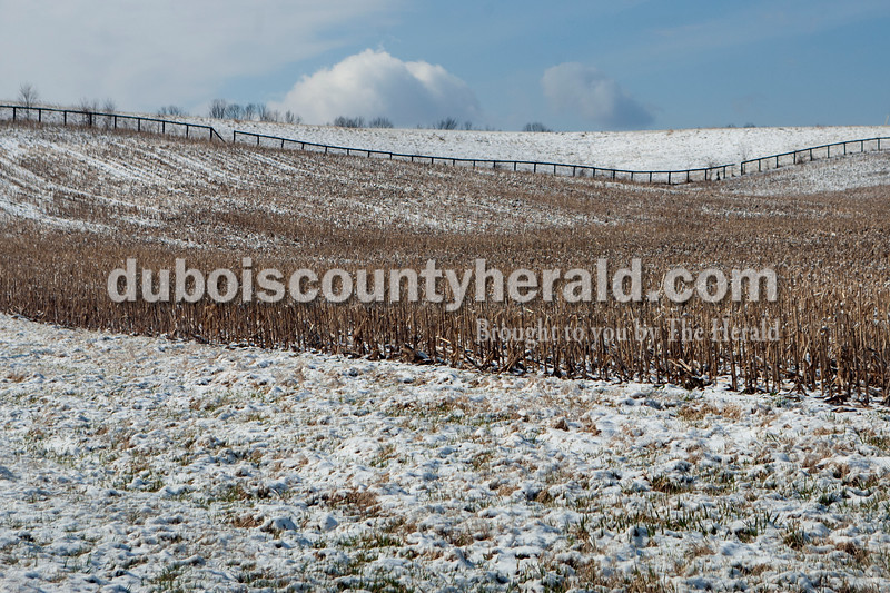 Snow covered a corn field as the sun came out after a blizzard in Jasper on Tuesday morning. Heather Rousseau/The Herald
