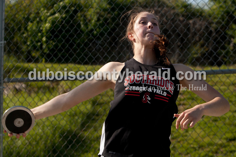 Heather Rousseau/The Herald<br /> Southridge's Sydney Altmeyer came in second in discus during the track meet in Ferdinand against Southridge on Monday. The Raiders girls won 67-65 and Rangers boys won 81-51. Heather Rousseau/The Herald