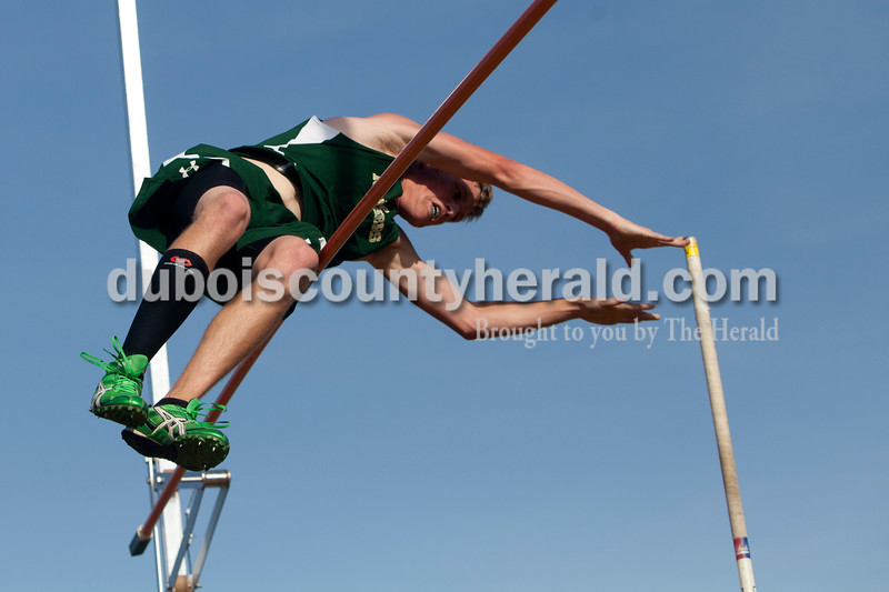 Forest Park's Blake Emmert took first place in the boys pole vault during the track meet in Ferdinand against Southridge on Monday.  The Raiders girls won 67-65 and Rangers boys won 81-51. Heather Rousseau/The Herald