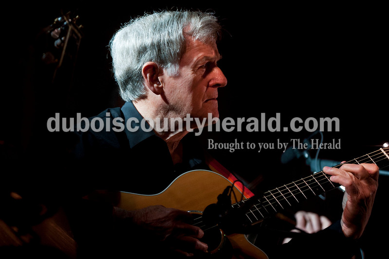 Carolyn Van Houten/The Herald<br /> Augie Bauer of Shoals played guitar during the Will Read and Sing for Food event at the Astra Theatre in Jasper on Sunday.  The event was hosted by the Dubois County Community Foundation and the proceeds went to the foundation's grants for charities in Dubois County.