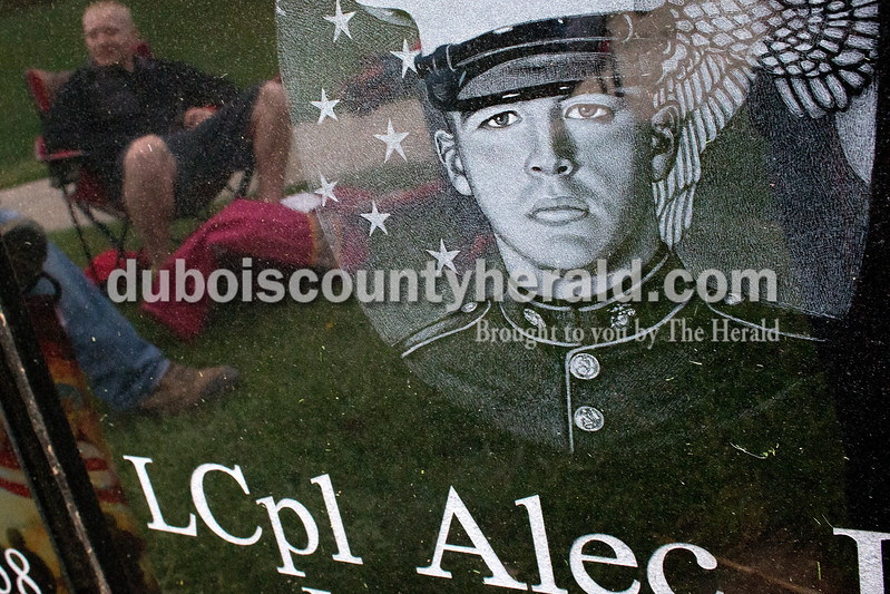 Dave Weatherwax/The Herald<br /> An engraving of Lance Cpl. Alec Terwiske in his military uniform is seen on his grave stone.