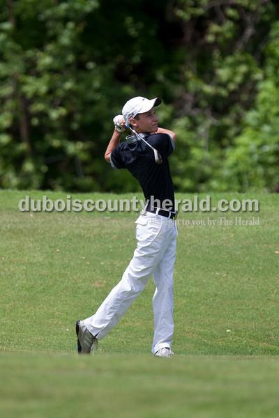 Carolyn Van Houten/The Herald<br /> Jasper's Reid Lorey hit the ball on the fairway during the tournament at Sultan's Run Golf Course in Jasper on Saturday.