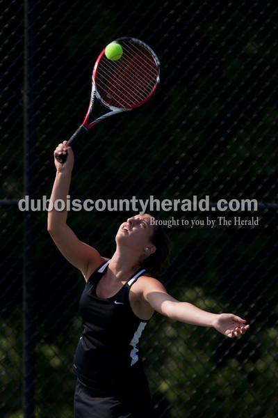Carolyn Van Houten/The Herald<br /> Jasper's Emma Yarbrough served the ball during the regional match in Jasper on Saturday.