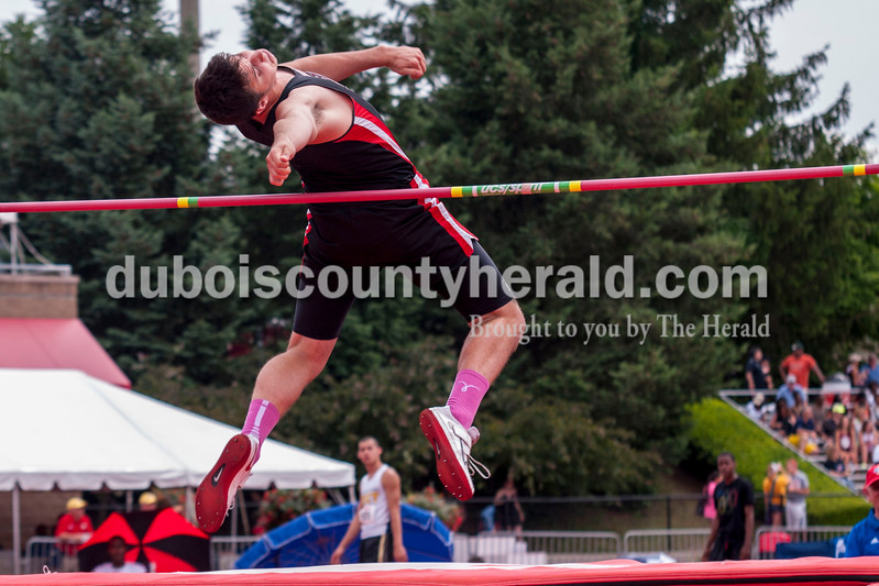 Southridge Senior Cody Thompson makes a successful jump during the high jump competition at the Indiana State Track and Field State Finals in Bloomington, Ind. on Saturday. Thompson placed fifth with a final jump of 6-6.00.