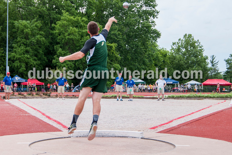 Forest Park's Noah Braunecker competed in both the discus and shot put events. In the shot put competition Braunecker's best throw was 44-1.00 placing him in 26th. Darryl Smith/For The Herald