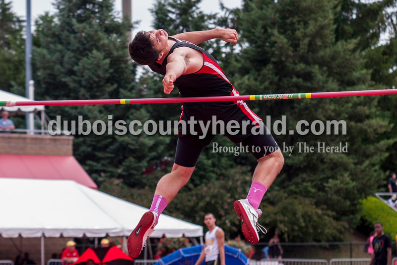 Southridge's Cody Thompson made a successful jump during the high jump competition at the Indiana State Track and Field State Finals in Bloomington on Saturday. Thompson placed fifth with a final jump of 6-6.00. Darryl Smith/For The Herald