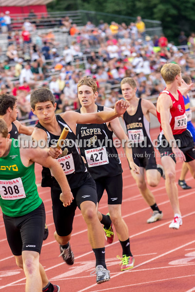 Jasper's Elliot Prangetop and Reid Milligan competed in the 1600 meter relay at the Indiana State Track and Field Finals in Bloomington on Saturday. Their team placed 24th. Darryl Smith/For The Herald
