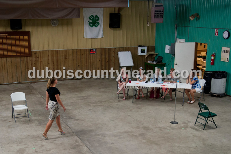 Carolyn Van Houten/The Herald<br /> Shelby Hopf of Jasper, 19, practiced walking for the judges during the free Modeling Workshop held at the Dubois County 4-H Fairgrounds on Thursday.  The workshop was hosted by the Dubois County 4-H Council and the Dubois County 4-H Queens Committee to assist 4-H Fair Queen contestants for Miss and Junior Miss prepare for the contest.