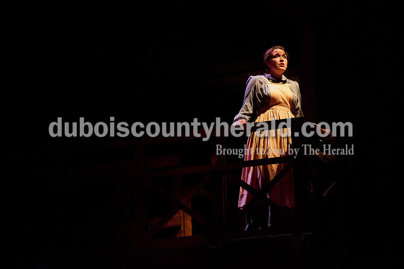 Allison Evans of Cincinnati, Ohio, sang in the role of Elizabeth Sparrow during a dress rehearsal for A. Lincoln: A Pioneer Tale Tuesday at the Lincoln Amphitheatre inside Lincoln State Park. The play will run June 19-July 26. Rachel Mummey/The Herald