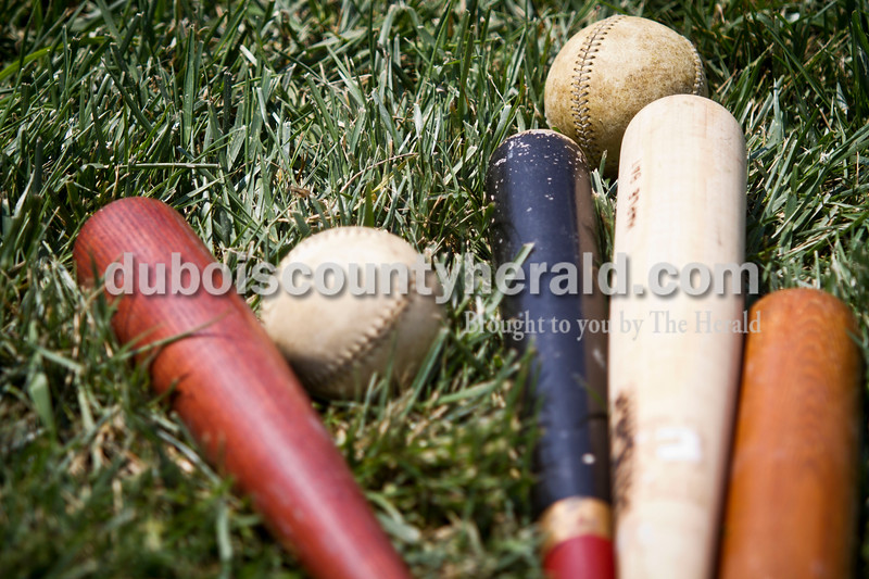 Vintage Base Ball accouterments were spotted during the Indianapolis Blues' game against the Dayton Clodbusters at the Schroeder Complex on Saturday. The teams played two games with Civil War-era baseball rules as a part of the Jasper Strassenfest celebration. <br /> Caitlin O'Hara/The Herald