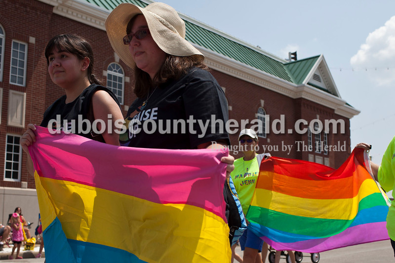 Supporters of the LGBT community marched in the Jasper Strassenfest Parade on Sunday.<br /> Caitlin O'Hara/The Herald