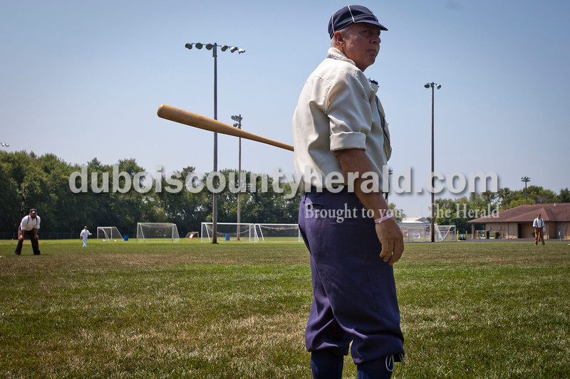 "Indianapolis Blues team member Mike McKitrick of Jasper prepared to bat during the vintage baseball game against the Dayton Clodbusters at the Schroeder Complex on Saturday. The teams played two games with Civil War-era ""base ball"" rules as a part of the Jasper Strassenfest celebration. <br /> Caitlin O'Hara/The Herald"