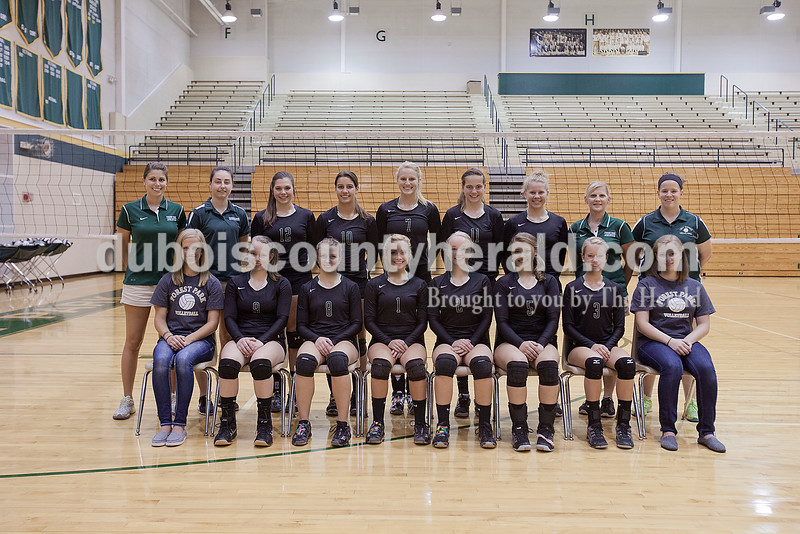Members of the Forest Park volleyball team are, from left, first row: student manager Miranda Sermersheim, Payton Begle, Heather Buechler, Sophia Bolte, Anna Hagedorn, Madi Giesler, Gabby Hoffman and student manager Kyra Helming. Second row: coach Nicole Hopf, coach Jessica White, Karissa Wollenmann, Jordan Voges, Lydia Lange, Alyssa Englert, Kacy Gogel, head coach Jamie Giesler and coach Kelly Schroering.
