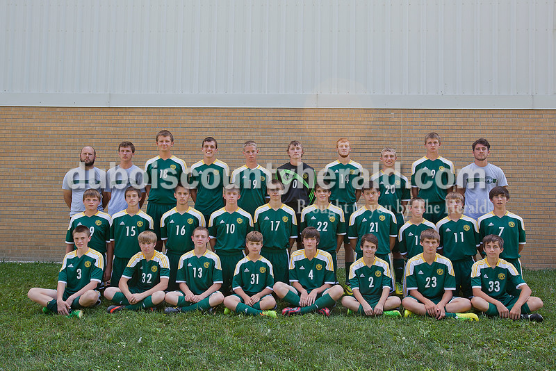 Members of the Forest Park boys soccer team are, from left, first row: Evan Hamilton, Cole Oeding, Bobby Deel, Braxton Sicard, Noah Hawkins, Damien Wigodinski, Noah Fleck and Joshua Epple. Second row: Brent Flamion, Luke Fleck, Aaron White, Aaron Braunecker, Donnie Mehling, Blake Mohr, Dylan Greulich, Robert Jones, Evan Dilger and Joshua Thomas. Third row: head coach Brent Sicard, coach Kyle Lubbehusen, Austin Berger, Ben Englert, Cole Henke, Miles Recker, Kyle Fleck, Austin Bromm, Landon Fleck and coach Aaron Trafton.