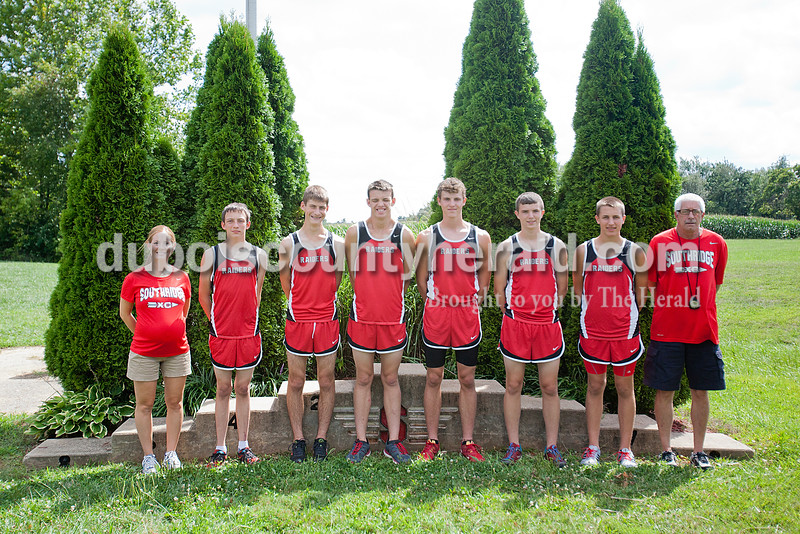 Members of the Southridge boys cross country team are, from left: coach Leslie Denu, Hunter Meyerholtz, Noah Stetter, Tristen Miller, Jayden Montgomery, Chase Bland, Brody Voegerl and coach Fred Giles.