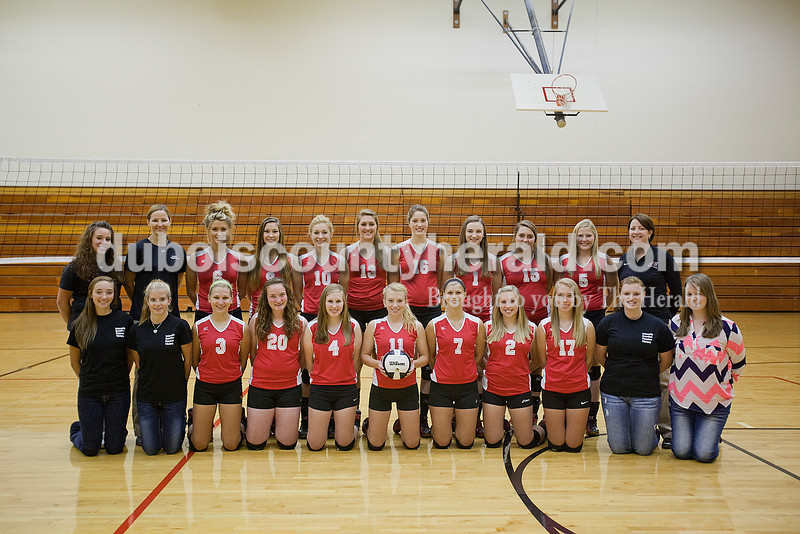 Members of the Southridge volleyball team are, from left, first row: student manager Ellie Langebrake, student manager Suzanne Lankhorst, Kayla Voegerl, Brianna Lammers, Grace Kappner, Elli Schank, Maddie Lubbehusen, Haley Barnett, Kathryn Brewer, student manager Marissa Schaefer and student manager Lindsey Schaeffer. Second row: coach Keshia Kamman, coach Annette Buse, Nikki Fischer, Taylor Uppencamp, Taylor Neukam, Kassidy Mundy, Sydney Altmeyer, Maddie Neu, Megan Stapleton, Mallory Peter and head coach Sarah Rogers.