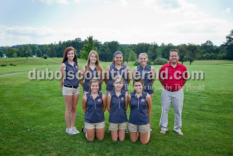Members of the Southridge girls golf team are, from left, first row: Paige Snyder, Dalie Wibbeler and Megan Weitkamp. Second row: Chloe Huff, Taylor Sheldon, Rosalinda Ornelas, Olivia Mundy and coach Dennis Weitkamp.