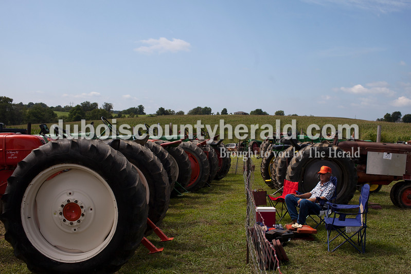Caitlin O'Hara/The Herald<br /> Ralph Mauder of Loogootee waited for his turn in the 32nd annual Celestine Tractor Pull at the Celestine Community Club on Sunday. Weidenbenner has competed in the event every year since its debut. The event benefitted the Celestine Volunteer Fire Department.