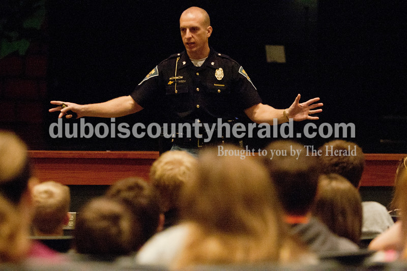 Heather Rousseau/The Herald<br /> Ind. State Trooper Sgt. Philip Hensley talked to Jasper Middle School students on Monday about the effects of bullying and how it can have negative consequences for everybody, including the bullies.
