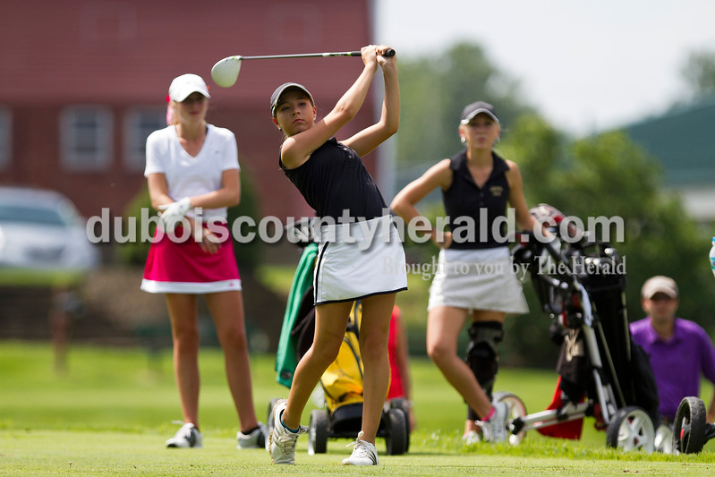 Caitlin O'Hara/The Herald<br /> Jasper's Maddie Wagner teed off at the Wildcat Invitational at Buffalo Trace Golf Course in Jasper on Saturday.